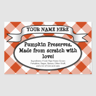 Personalized Canning Jar Label, Orange Gingham Sticker