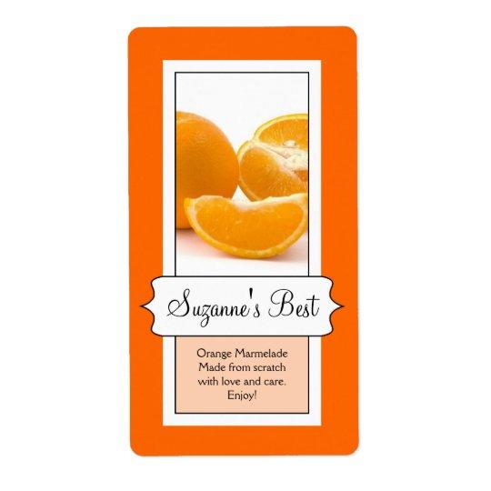Personalized Canning Jar Label, Orange Shipping Label