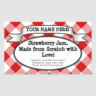 Personalized Canning Jar Label, Red Gingham Jelly Sticker