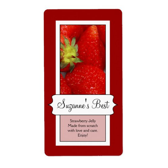 Personalized Canning Jar Label, Strawberry Shipping Label