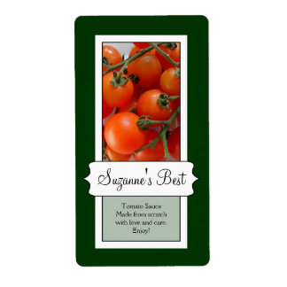 Personalized Canning Jar Label, Tomato