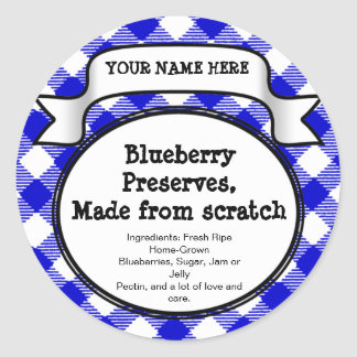 Personalized Canning Jar/Lid Label, Blue Gingham Round Sticker