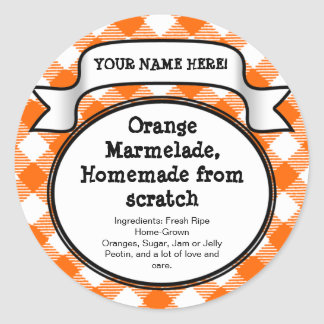Personalized Canning Jar/Lid Label, Orange Gingham Round Sticker