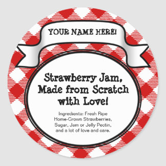 Personalized Canning Jar/Lid Label, Red Gingham Round Sticker