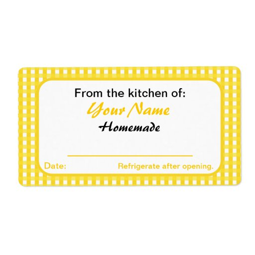 Personalized Canning Labels for Jars Yellow Checks