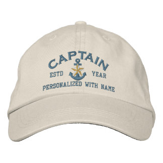 Personalized Captain Coastal Star Anchor Embroidered Hat
