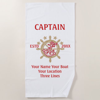 Personalized Captain First Mate Skipper Crew on a Beach Towel