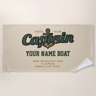Personalized Captain Name Boat Year and More Beach Towel