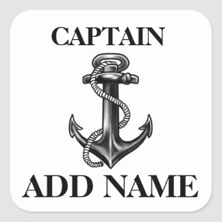 Personalized Captain Name Navy Anchor And Rope Square Sticker