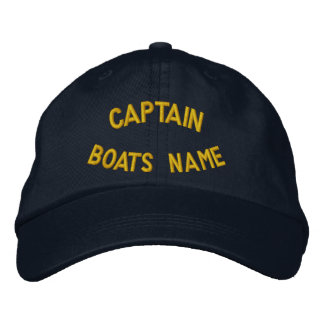Personalized Captain with your boats name Embroidered Hat