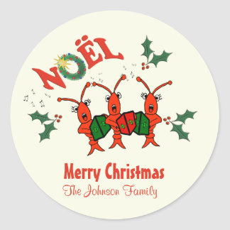 Personalized  Caroling Crawfish Lobster Christmas Classic Round Sticker