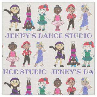 Personalized Cartoon Dancers Dance School Studio Fabric