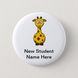 Personalized Cartoon Giraffe for New Students 2 Inch Round Button