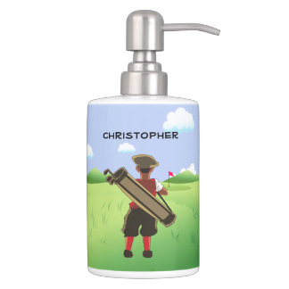 Personalized cartoon golfer toothbrush holders