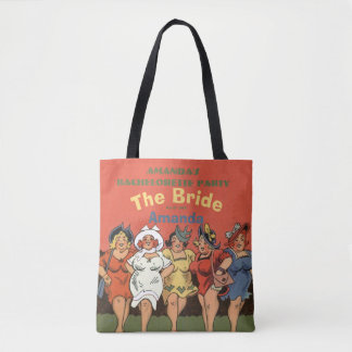 Personalized cartoon ladies night tote bag