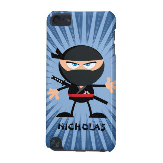 Personalized Cartoon Ninja on Blue Starburst iPod Touch (5th Generation) Cover