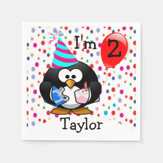 Personalized Cartoon Penguin 2nd Birthday Party Paper Napkin