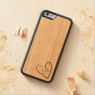 Personalized Carved Heart with Initials on Wood Carved Cherry iPhone 6 Bumper Case