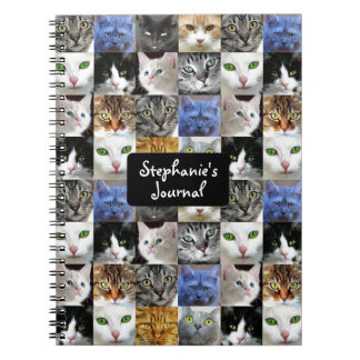 Personalized Cat Collage Journal Spiral Note Book