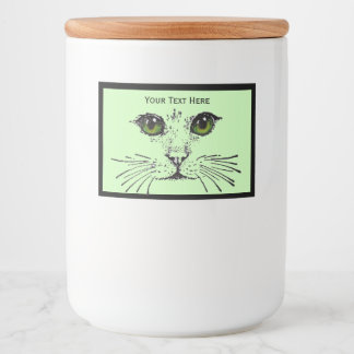 Personalized Cat face With Pretty Green Eyes Food Label