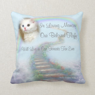Personalized Cat Memorial Stairway to Heaven Throw Pillow