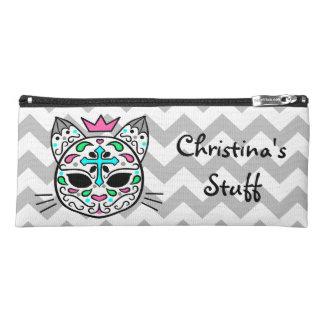 Personalized cat sugar skull pencil case