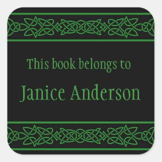 Personalized Celtic Knots Design Bookplate Sticker Square Sticker