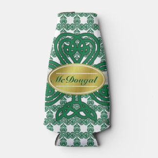 Personalized Celtic Shamrock Scroll Bottle Cooler