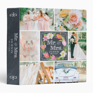 PERSONALIZED CHALK FLORAL 3 WEDDING PHOTO COLLAGE 3 RING BINDER