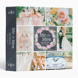 PERSONALIZED CHALK FLORAL 4 WEDDING PHOTO COLLAGE 3 RING BINDERS