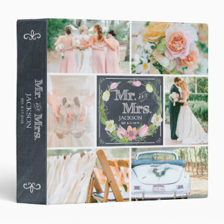 PERSONALIZED CHALK FLORAL I WEDDING PHOTO COLLAGE 3 RING BINDER