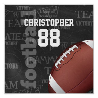 Personalized Chalkboard American Football Poster