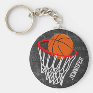 Personalized Chalkboard Basketball and Hoop Basic Round Button Keychain