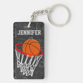 Personalized Chalkboard Basketball and Hoop Double-Sided Rectangular Acrylic Keychain