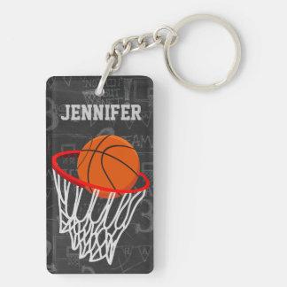 Personalized Chalkboard Basketball and Hoop Double-Sided Rectangular Acrylic Keychain