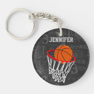 Personalized Chalkboard Basketball and Hoop Double-Sided Round Acrylic Keychain