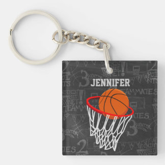 Personalized Chalkboard Basketball and Hoop Double-Sided Square Acrylic Keychain