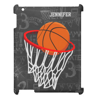 Personalized Chalkboard Basketball and Hoop iPad Covers
