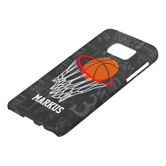 Personalized Chalkboard Basketball and Hoop Samsung Galaxy S7 Case