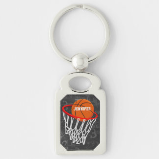 Personalized Chalkboard Basketball and Hoop Silver-Colored Rectangle Keychain