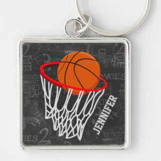 Personalized Chalkboard Basketball and Hoop Silver-Colored Square Keychain