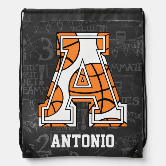 Personalized Chalkboard Basketball Letter A Drawstring Backpack