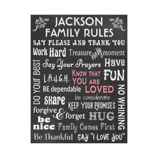 "Personalized Chalkboard ""Family Rules"" Canvas Print"