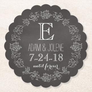 Personalized Chalkboard Monogram Wedding Date Paper Coaster