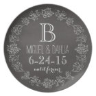Personalized Chalkboard Monogram Wedding Date Plate