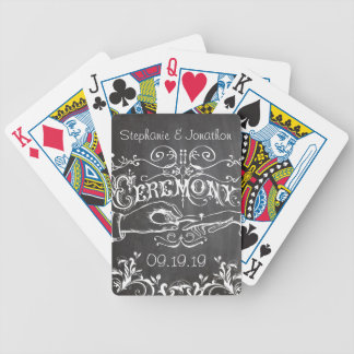 Personalized Chalkboard Vintage Wedding Bicycle Playing Cards