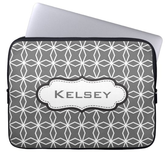Personalized Charcaol Grey Geometric Pattern Laptop Sleeve