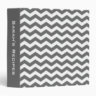 Personalized Charcoal Gray Chevron Recipe Binder