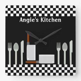 Black and white checkered clocks high quality black and - Black and white kitchen clock ...