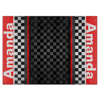 Personalized Checkered Design Cutting Board